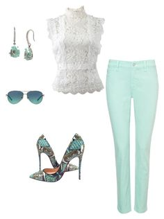 """""""Mint jeggings . Perfect for Spring!"""" by dani-monje on Polyvore featuring Betsey Johnson, Tiffany & Co., Christian Louboutin, NYDJ and Oscar de la Renta"""