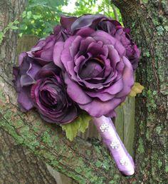 Deep Rich Purple Wedding Bouquet. $60.00, via Etsy.