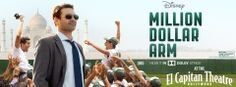 Million Dollar Arm showing at The El Capitan Theatre May 16-29!  For tickets, call 1-800-DISNEY6 or go to www.elcapitantickets.com! Million Dollar Arm, Jon Hamm, Theatre, Arms, Hollywood, Movie Posters, Theatres, Film Poster, Billboard