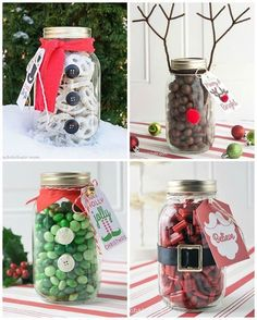 15 easy mason jar christmas decorations you can make yourself great christmas gift for neighbors or teachers or coworkers fill the jar and decorate it solutioingenieria Images