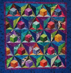 3D Cubes by Sondra Hassan | Tumbling blocks quilts | Pinterest