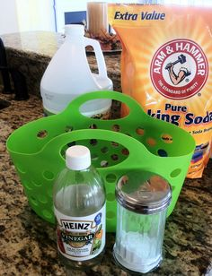 """Sprinkle baking soda around the inside of your toilet bowl being sure to get the """"dry"""" parts and to sprinkle some in the standing water.  Pour some (about ¼ cup) vinegar into your toilet bowl.  Watch the fun fizzing action, and then use your toilet brush to scrub around the inside of your toilet!"""