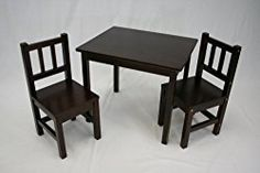 eHemco Kids Table and 2 Chairs Set Solid Hard Wood (Espresso)