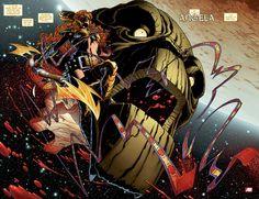Neil Gaiman's Angela joins the Marvel Universe. Art by Joe Quesada