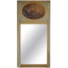 Mid 19th Century Louis XVI Style Trumeau Mirror in Painted and Gilded Wood | From a unique collection of antique and modern trumeau mirrors at 1stdibs.com