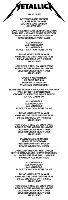 Atlas,-Rise Lyrics - Metallica