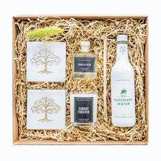 Home Sweet Home - White Olive Gifts Rosemary Water, Curated Gift Boxes, Olive Tree, Hostess Gifts, Diffuser, Whiskey, Caramel, Coasters, Vanilla