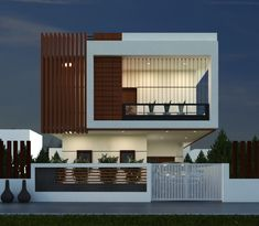 📣 60 Choices Beautiful Modern Home Exterior Design Ideas 57 Duplex House Plans, Bungalow House Design, House Front Design, Cool House Designs, Modern House Design, Front Elevation Designs, House Elevation, Interior Exterior, Exterior Design