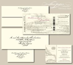 Vintage Map Boarding Pass Wedding Invitation.  Like the concept, fonts not so much