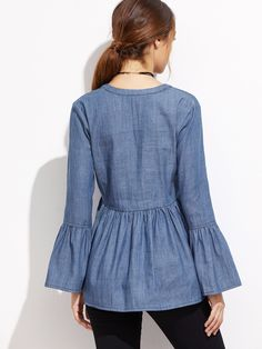 Shop Blue V Neck Bell Sleeve Denim Blouse online. SheIn offers Blue V Neck Bell Sleeve Denim Blouse & more to fit your fashionable needs. Frill Blouse, Denim Blouse, Shirt Blouses, Blouse Dress, Denim Top Outfit, Blouse Styles, Blouse Designs, Mode Jeans, Blue V