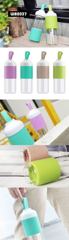Glass Bottle with Handle Description:        ● Material:ABS lid+silicon cover+sealed glass bottle    ● Size:7.3*7.3*24.2CM www.ideagroupigm.com