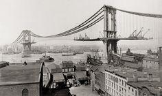 Manhattan Bridge Under Construction, 1901-1910, New York City (The Manhattan was the last of the 3 suspension bridges built.)