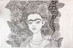 Retrato estilo zentangle de Frida Kahlo Blanco y negro