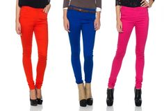 skiny jeans in every color...