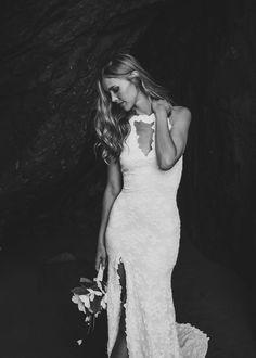 Boho Wedding Dress, Racerback Wedding Dress, Cutout Wedding Dress, Skirt Slit Wedding Dress, Rounded Train Wedding Dress - Genevieve Dress by WearYourLoveXO on Etsy
