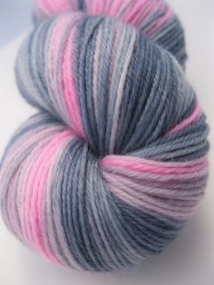 """(sold) Sock Yarn """"Tainted Love"""" - Hand Dyed Yarn in grey, gray, pink by Spacefrog Yarns on Etsy"""