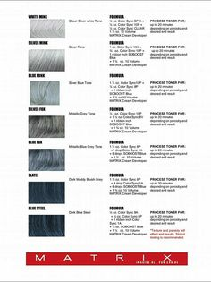 Silver hair formulas using Matrix