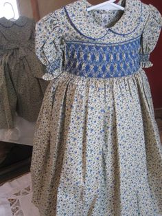 Size 4 blue and cream tan print smocked dress by SmockingByGinaBug, $75.00