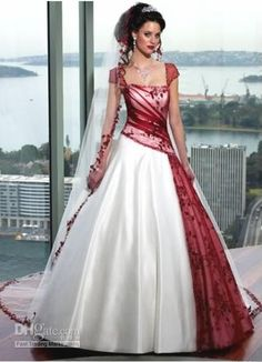 Maroon and White Bridesmaid Dresses