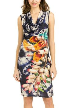Hippy style and sophistication come together in this sleeveless dress that has such a perfect spring look. It combines retro flowers with tie-dye-effect touches. It�s very fresh thanks to being made from viscose.