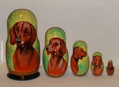 Russian Matryoshka High Quality Hand Painted Dachshund | eBay ( $25.00 Bod or $33.00 buy it now).<3<3<3<3