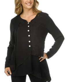 Take a look at this Black Button-Up Tunic - Women & Plus by Gizel on #zulily today! $34 !!