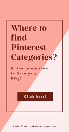 Pinterest Categories are actually relevant for the Pinterest Algorithm and can help you grow your Blog Subscriber and grow your Blog Traffic. This is an easy hack and great blogging tips you can implement today to make your Pinterest category and Pinterest Boards rank higher. Give Pinterest the information they need to understand your pins. #pinterestmarketing #pinterestips #pinterestalgorithm #bloggingtips Pinterest App, Pinterest Board, Pinterest Categories, Online Marketing Strategies, Pinterest For Business, Small Business Marketing, Creating A Blog, Pinterest Marketing, Blog Tips