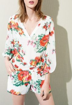 Swooning over this pretty floral print silk ensemble.