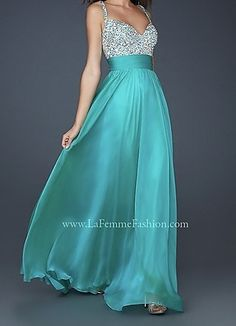 Aqua Prom Dress I would get a jack to go with it to make it modest