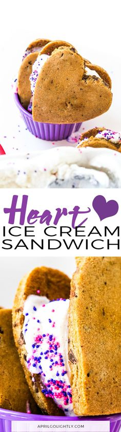 Heart Ice Cream Cookie Sandwich made with Breyer Natural Vanilla and Cookie Cake and Heart-Shaped Cookie Cutter with Pink & Purple Sprinkles #CelebrateWithBreyers #Walmart @Walmart @Breyers #ad