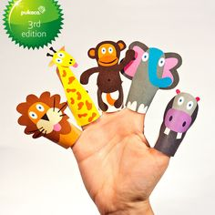 JUNGLE ANIMALS Paper Finger Puppets - Printable Pdf - DIY Craft Kit