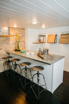 "Home Renovation Basement Fixer Upper: Bringing a Modern Coastal Look to a ""Faceless Bunker"" Bonus Room Design, Basement Decor, Kitchen Remodel, Basement Bar Designs, Fixer Upper, Finding A House, Home Decor, Coastal Living Rooms, Finishing Basement"