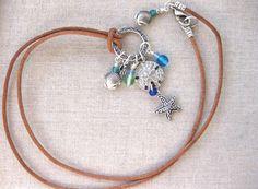 Beachy Charm NECKLACE - Beach Boho Necklace, w Starfish, w Sand Dollar charm pendant, coastal necklace, beach jewelry, layering necklace