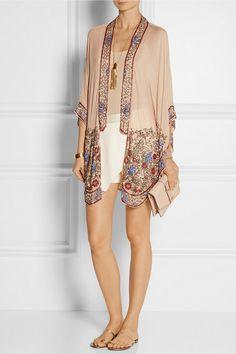 ANNA SUI Bead-embellished crinkled silk-chiffon kimono jacket $955