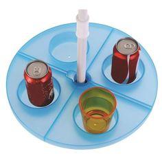 Mesa dobrável para ombrelones e guarda-sóis com hastes de até 32mm (ø) com suporte para bebidas Suporta até 3 kg distribuídos Disponível em 2 cores, rosa ou azul