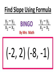 Finding Slope Using Formula BINGO (Mrs Math)