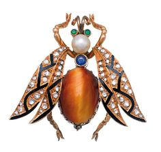 DIAMOND AND GEM SET BROOCH  Designed as a bee set with a cabochon tigers eye abdomen, a cabochon sapphire and pearl measuring approximately 5.80mm in the thorax, with two circular cut emerald eyes, and the wings inlaid with black enamel and set throughout with rose cut diamonds