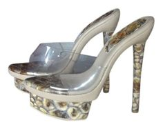 Beige With Clear Top And Snake Skin Platforms $73