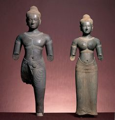 The Hindu deities Shiva and Parvati, 1000–1100. Cambodia. Sandstone. The Avery Brundage Collection, B66S2 and B66S3.