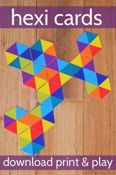 Free Printable Hexi Cards - lots of ways to play Indoor Activities For Kids, Preschool Activities, Crafts For Kids, Indoor Games, Kindergarten Math, Teaching Math, Math Art, Homeschool Math, Math Games
