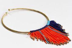 Beaded Choker, Tassel Necklace, Beaded Jewelry, Jewellery, Brass Chain, Orange Color, Glass Beads, Chokers, Jewelry Making