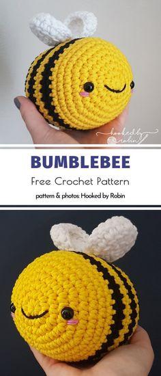 Bumblebee Free Crochet Pattern Crochet Unique, Crochet Simple, Crochet Bee, Crochet Amigurumi Free Patterns, Crochet Animal Patterns, Crochet Patterns Amigurumi, Cute Crochet, Crochet Crafts, Crotchet
