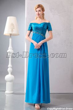 1st-dress.com Offers High Quality Turquoise Off Shoulder Long Mother of Groom Dress with Short Sleeves,Priced At Only US$149.00 (Free Shipping)