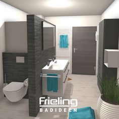 This relatively large, rectangular bathroom was cleverly divided into three zones with a shower, toilet and vanity. Your benefits: Hidden toilet area and a loosening up of the rectangular floor plan. shower round The T-bath with three zones Bathroom Design Small, Bathroom Layout, Bathroom Interior, Hidden Toilet, Interior Architecture, New Homes, Bathtub, Floor Plans, Vanity