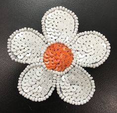 """White Flower with Choice of Color Center, Sequin Beaded 2.5"""""""
