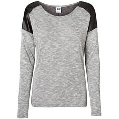 Vero Moda Pu Shoulder Long Sleeved Blouse ($13) ❤ liked on Polyvore featuring tops, blouses, shirts, sweaters, light grey melange, vero moda shirt, vero moda blouse, long-sleeve shirt, extra long sleeve shirts and shirt blouse