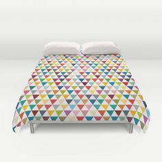 Duvet cover with Tiny colourful flags modern duvet by JAYSANSTUDIO  Duvet cover* with Tiny colourful flag. Designed with fresh, bright, bold and funny colours this geometric duvet cover will lighten up any room. It is also a perfect gift for any kid.