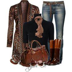 #ethnic #print #vest ♥ #brown #leather #bag n #boots