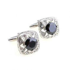 Black Gemstone Silver Cufflinks pictures