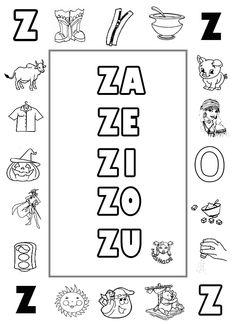 Lecto-escritura. Letra Z Preschool Spanish, Preschool Letters, Teaching Spanish, Z Book, Spanish Alphabet, Finger Plays, Alphabet Worksheets, School Notes, Spanish Lessons